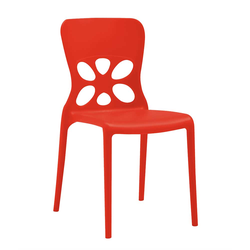 Rote Stapelstühle aus Kunststoff modern (2er Set)