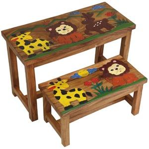 Kinder Bank Sitzgruppe Bank Tischgruppe Esstisch Bankset Afrika 2er Set