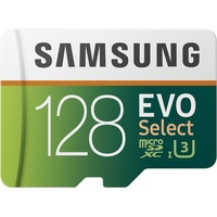 Samsung EVO Select 128 GB microSD 100MB/s, Geschwindigkeit, Full HD & 4K UHD Speicherkarte inkl. SD-Adapter für Smartphone, Tablet, Action-Kamera, Dro