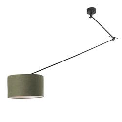 Hängelampe schwarz mit Lampenschirm 35 cm olivgrün verstellbar - Blitz I