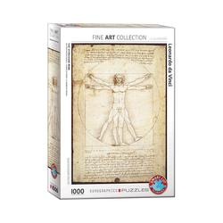 empireposter Puzzle Leonardo da Vinci - vitruvianischer Mensch - 1000 Teile Puzzle Format 68x48 cm., 1000 Puzzleteile