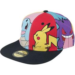 DIFUZED Snapback Cap Pokémon - Multi Pop Art Cap - mit Motiven von Pikachu, Enton, Schiggy, Pummeluff und Gengar