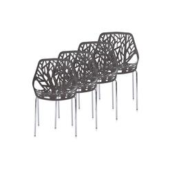 Makika Esszimmerstuhl Retro Stuhl Design-Stuhl - CALUNA 4er Set in Grau