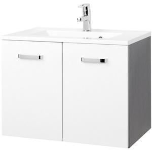 Waschtischunterschrank 70 cm Waschbecken mit Unterschrank hochglanz weiss grau