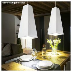 etc-shop LED Pendelleuchte, Pendel Leuchte Stoff weiß IP20 Hänge Wohnzimmer Lampe im Set inkl LED Leuchtmittel