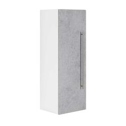 Hängender Badschrank in Weiß und Beton Grau 100 cm hoch