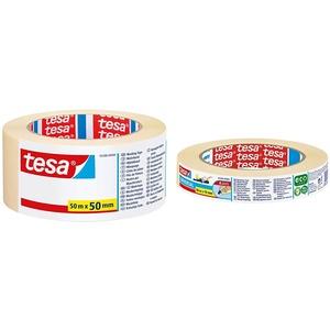 tesa Malerband UNIVERSAL, Beige, 50m:50mm & Malerband - Vielseitiges Klebeband für Malerarbeiten ohne Lösungsmittel - Bis zu 4 Tage nach Gebrauch rückstandslos entfernbar - schmal, 50 m x 19 mm