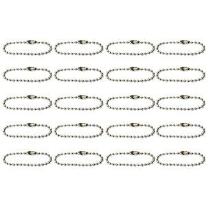 Bonarty 20pcs Kugelketten Ketten Kugelkette Edelstahlkette Perlenkette für Schlüsselanhänger, Scrapbooking - Silber, 10cm