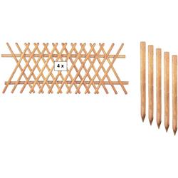 T&J Gartenzaun Jägerzaun Jefferson 2, (Set), 80 cm hoch, 4 Elemente für 10 Meter Zaun, mit 5 Pfosten