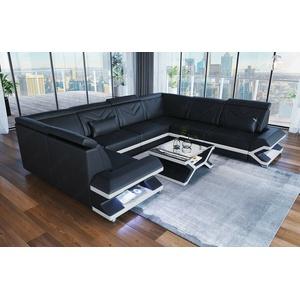 Sofa Wohnlandschaft Ecksofa Couch SORRENTO U Form Designersofa Leder Schwarz LED
