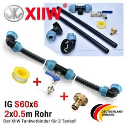 XIIW Container IBC Adapter Verbindungsset Regenwassertanks Nebeneinander mit Auslaufhahn S60x 6