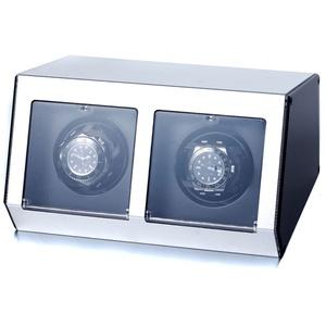 """Raoul U Braun Uhrenbeweger Ferrum Style"""" für 2 Uhren Silber Aluminiumgehäuse Watchwinder"""