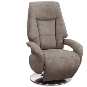 Cavadore TV-Sessel Edinburgh / Fernsehsessel mit manuell verstellbarer Relaxfunktion / 74 x 114 x 77 / Lederoptik: hellbraun