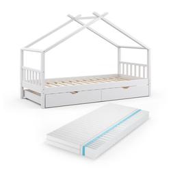 VitaliSpa® Kinderbett DESIGN HausbettGästebett Lattenrostweiß 90x200 Schublade