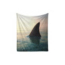 Foulard Gemütlicher Plüsch für den Innen- und Außenbereich, Abakuhaus, Angeln Theme Haifischflosse über Ozean 175 cm x 230 cm