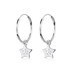 Elli Paar Creolen Creolen Stern Swarovski® Kristalle 925 Silber weiß