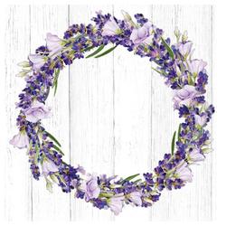 Linoows Papierserviette 20 Servietten, Lavendelkranz, Lavendel und Prunkwi, Motiv Lavendelkranz, Lavendel und Prunkwinde