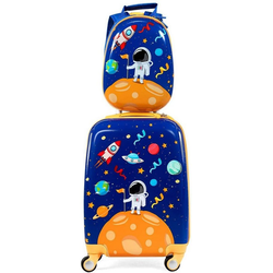 COSTWAY Kinderkoffer 2tlg Kinderkoffer + Rucksack blau 21.5 cm x 51 cm x 33 cm