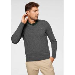 Gant V-Ausschnitt-Pullover aus reiner Lammwolle grau S (48)