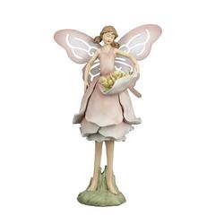 dekojohnson Gartenfigur Deko-Figur Blumenfee Elfe Blumen-Engel 24cm rosa