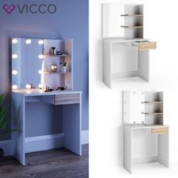 VICCO LED Schminktisch DEKOS Frisiertisch Kommode Kosmetiktisch Weiß Eiche