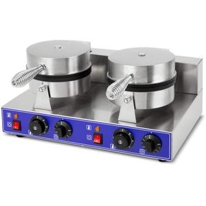 vertes Gastronomie Doppel Waffeleisen Waffelmaschine belgische Brüsseler Waffeln Edelstahl (2000 Watt, 2x Timer Funktion, 0-350°C Temperatur regelbar)