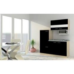 Respekta Economy Küchenzeile KB160ESSMI 160 cm, Schwarz mit Mikrowelle