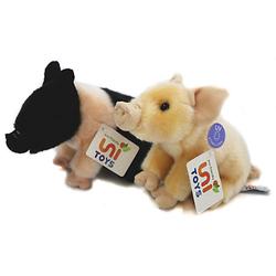 Ferkel (2-teilig) - je 18 cm (Länge) - Plüsch-Schwein, Angler Sattelschwein, Plüschtiere Kuscheltiere rosa