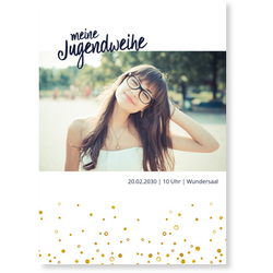 Einladungskarten Jugendweihe (10 Karten) selbst gestalten, Meine Jugendweihe - Weiß