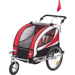 HOMCOM 2 in 1 Fahrradanhänger für 2 Kinder rot, schwarz 106 x 90 x 105 cm (LxBxH)   Kinderanhänger Kinderjogger Kinderwagen Anhänger