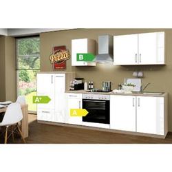 Menke Küchen Küchenzeile Premium Lack 300 cm weiß - 4 Platten Kochfeld