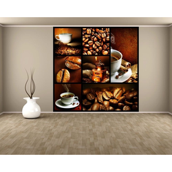 Bilderdepot24 Fototapete, Fototapete Kaffee Collage III, selbstklebendes Vinyl bunt 1.5 m x 1.5 m