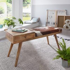 Wohnling Sitzbank SALIM 100x52x38 cm Kuhfell / Massivholz, im Retro Stil, Polsterbank, mit Stauraum