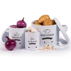 Zedelmaier Vorratsdose Aufbewahrung Kartoffeln Set,Vorratsdose Kartoffeln, Zwiebeltopf Kartoffeltopf Knoblauchtopf, Großer Vorratsbehälter aus Metall weiß