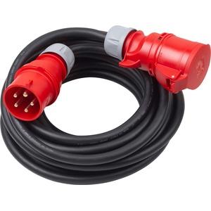 Meister CEE-Verlängerung - 10 m Kabel - Hochwertige Gummileitung H07RN-F5G 4 mm2 - 32 A / 400 V - IP44 Außenbereich / Starkstromkabel für Baustellen & Gewerbe / CEE-Verlängerungskabel / 7424200
