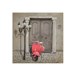 Artland Glasbild Oldtimer Motorroller Colorkey, Motorräder & Roller (1 Stück) 30 cm x 30 cm x 1,1 cm