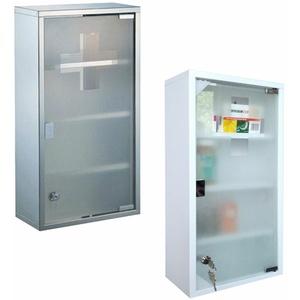 Edelstahl Medizinschrank Arzneischrank Apothekerschrank 2/3/4 Ebene(Weiß/Silber)