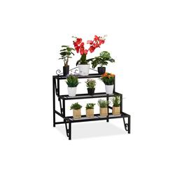 relaxdays Blumenständer Blumentreppe aus Metall 3 Stufen