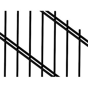 Doppelstabmattenzaun | Gartenzaun | Komplettset | 143cm hoch | verzinkt und pulverbeschichtet (40m, Schwarz (RAL 9005))
