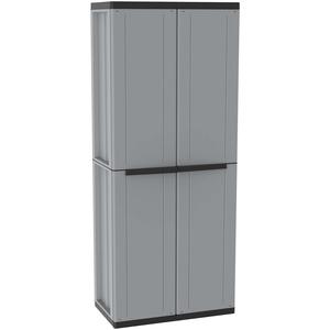Besenschrank mit zwei Türen von Terry, Grau/Schwarz – jline368, 1002819, 68x37,5x163,5 cm