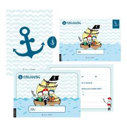 12 Einladungskarten Geburtstag Junge (Piraten). Handgemachte Geburtstag Einladungskarten zum Kindergeburtstag incl. 12 liebevollen Hand designten ...