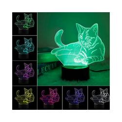 Gotui LED Nachtlicht, 3D LED Nachtlicht, Alarm Katze Licht, mit 7 Farben Licht, Wohnkultur, USB oder Akku