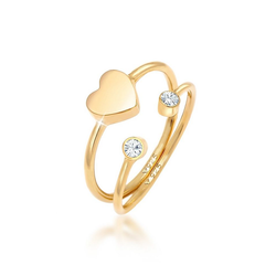 Elli Ring-Set Herz Liebe Swarovski® Kristall (2 tlg) 925 Silber, Kristall Ring goldfarben 52