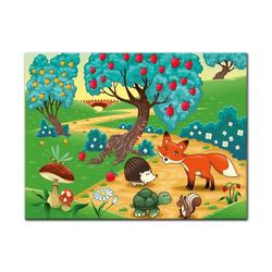 Bilderdepot24 Leinwandbild, Leinwandbild - Kinderbild - Tiere im Wald 120 cm x 90 cm
