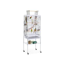 Yaheetech Vogelkäfig, Transparenter Vogelkäfig mit Ständer für kleine Vögel/Sittiche/Wellensittiche rollender Vogelkäfig mit Spielzeug und Leiter