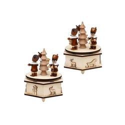 SIGRO Weihnachtsfigur Holz Spieldose mit Bergmannfiguren