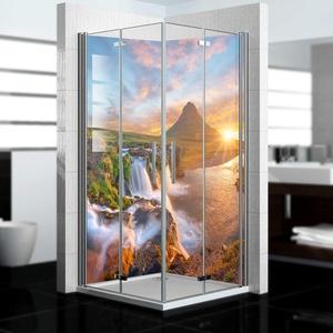 dedeco Alu Eck-Duschrückwand mit Wasserfall V10 Motiv - 2 x 90x200 cm - Perfekt als Badrückwand zum Fliesenersatz, passend für viele Bäder - Made in Germany