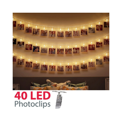B.K.Licht LED-Lichterkette Rana, 40-flammig, 5m LED Fotolichterkette Stimmungsbeleuchtung mit 40 Photo-Clips