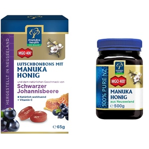 Manuka Health Set - Manuka Honig MGO 400+ (500g) & Schwarze Johannisbeere Lutschbonbons (100 g)