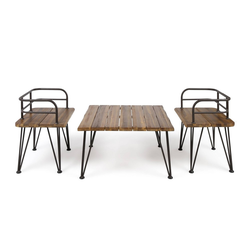 Zion 3pc Acacia Wood & Iron Industrial Coffee Table Chat Set - Teak - Christopher Knight Home